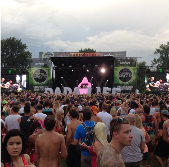 Fans flocked to watch Dada Life's show on Friday, which was — as always — aided by several stage props, from their trademark bananas to the giant inflatable sign visible in this photo.