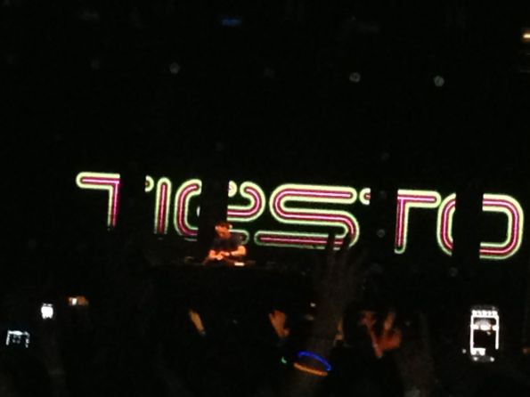 Tiesto performs under his flashing nameplate during Sunday's finale. The next five shots are also from Tiesto's set.