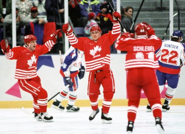 The Canadian Press Paul Kariya, centre, represented Canada the last time the country sent a squad of amateur players to the Olympics, bringing silver home from the 1994 Winter Games in Lillehammer, Norway. In those photo from way back then, Kariya is seen celebrating a goal with teammates Chris Kontos and Brad Schlegel. Kariya had just been selected fourth overall by the expansion Anaheim Ducks and the then-19-year-old was playing for the University of Maine when he was recruited to Team Canada. The full roster from 1994 can be found here: . With the NHL reportedly leaning towards not lending its players to future Olympics, Canada might need to ice a new-look roster as early as the 2018 Winter Games in Pyeongchang, South Korea.