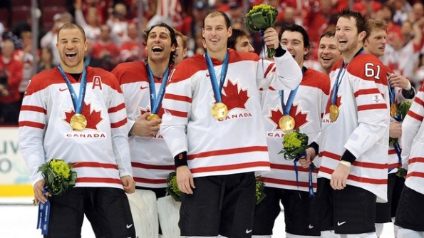 Getty Images Several members of Canada's gold-medal-winning team share a laugh following the championship game at the 2010 Olympics in Vancouver. Many jokes have been made of this photo in the years since, without ever knowing what this group of Canadians found so funny in the moments after defeating the United States 3-2 in overtime. It seemed a fitting image to illustrate this blog, which brings light to the fact that Canada — even as defending champions — enters the 2014 Olympics in Sochi, Russia, ranked fifth in the IIHF World Rankings. Yeah, that's worth a good chuckle.
