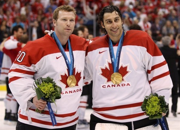 Jonathan Hayward/The Canadian Press Team Canada goaltenders Roberto Luongo, right, and Martin Brodeur show off their gold medals after Luongo backstopped Canada to a 3-2 overtime win against the United States in the championship game of the 2010 Olympics in Vancouver. Luongo supplanted Brodeur as the starter in that tournament and is returning for the 2014 Olympics in Sochi, Russia, while Brodeur was left off this year's roster in favour of Carey Price and Mike Smith.