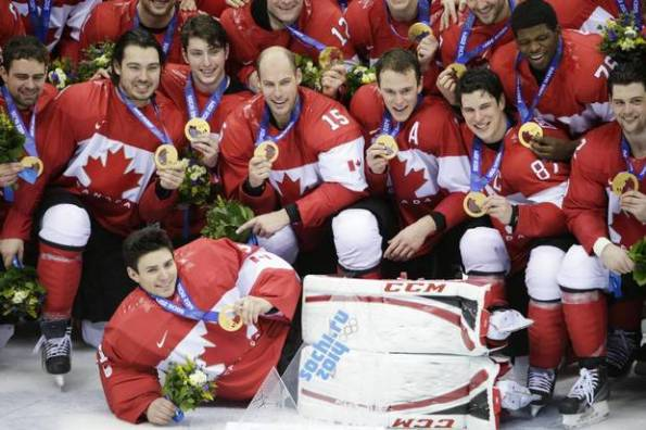 John Lehmann/The Globe and Mail Team Canada players pose with their gold medals after defeating Sweden 3-0 in the championship game of the Winter Olympics on Sunday morning in Sochi, Russia. Canada went undefeated in six games, only allowing three goals against en route to repeating as Olympic champions.