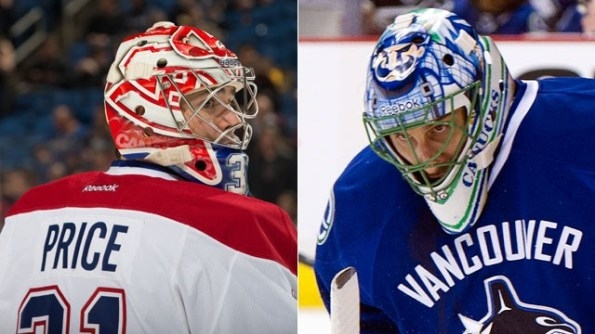 Getty Images/CBCSports.ca Carey Price, left, and Roberto Luongo are competing to be Canada's No. 1 goaltender at the Sochi Olympics. Who should start against Finland Have your say in the poll below.