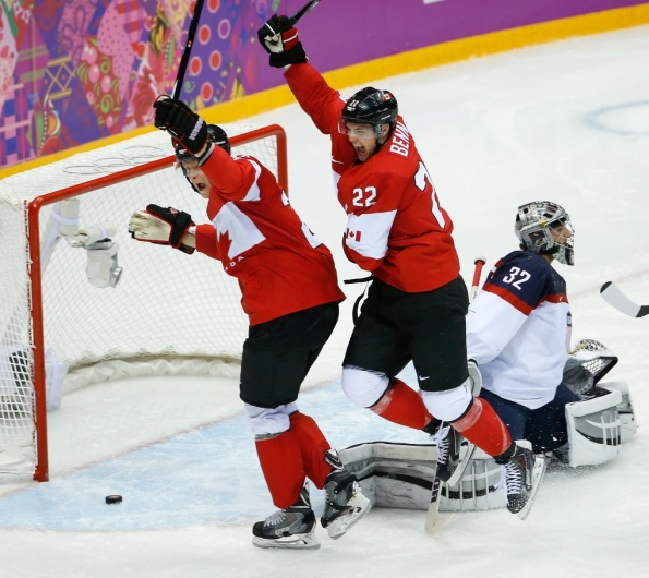 Matt Slocum/The Associated Press Team Canada forward Benn Jamie (22) celebrates his goal against USA goaltender Jonathan Quick during the second period of their men's hockey semifinal at the 2014 Winter Olympics in Sochi, Russia, on Friday. Benn's goal stood up as the winner in Canada's 1-0 victory over the archrival Americans. Canada will next face Sweden for gold on Sunday morning — early morning, as in 4 a.m. PT — while the U.S. is left to play for bronze on Saturday against Finland, which fell 2-1 to Sweden.