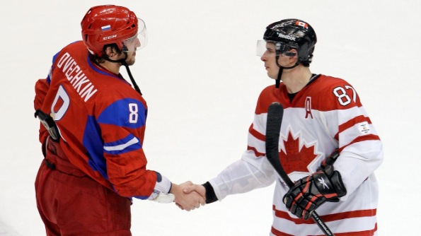 The Canadian Press Sidney Crosby of Team Canada, right, and Alex Ovechkin of Team Russia shake hands following a game at the 2010 Olympics in Vancouver. These two NHL superstars will captain their respective countries at the 2014 Olympics in Sochi, Russia, this month.