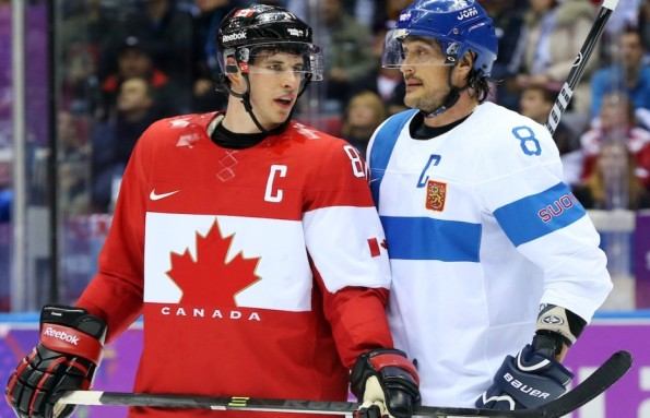 Jean Levac/Postmedia News Team Canada captain Sidney Crosby, left, caught an earful from Finland counterpart Teemu Selanne during their preliminary-round finale at the 2014 Winter Olympics in Sochi, Russia, on Sunday. The exchange of words occurred shortly after Crosby drew a penalty against Finland during first-period action. Selanne sought out Crosby before the ensuing face-off and gave him a piece of his mind, whispering a few 'sweet nothings' his way, to which Crosby took offence as he made his way to the Canadian bench. Ever wonder what those conversations sound like without the commentator's filter? Guest blogger Dan Nadeau has a pretty good inkling and is willing to share his interpretations, having played junior hockey in Canada and semi-pro in both the United States and Europe.