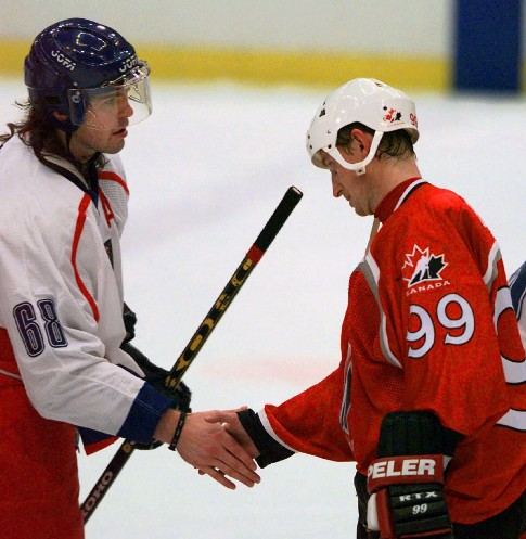 The Associated Press/Kathy Willens Team Canada's Wayne Gretzky, right, congratulates Jaromir Jagr of the Czech Republic after Canada suffered an upset loss, 2-1 in a shootout, during the semifinals of the 1998 Olympics in Nagano, Japan. Gretzky, the greatest hockey player of all time, was not selected to shoot in the tiebreaker, while Jagr is still going strong some 16 years later as he'll suit up for his fifth Olympics at age 41 this month. Canada ended up finishing fourth in 1998, but has much higher hopes as the defending Olympic champion from the 2010 Winter Games in Vancouver.