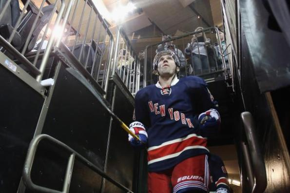 Bruce Bennett/Getty Images Martin St. Louis of the New York Rangers takes the ice for warm-ups prior to making his Rangers debut against the Toronto Maple Leafs on Wednesday night. St. Louis was acquired from the Tampa Bay Lightning for Ryan Callahan and two draft packs earlier Wednesday ahead of the NHL's trade deadline.